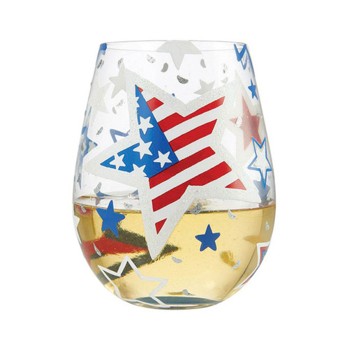Lolita Stemless Wine Glass Home of the Brave by ENESCO