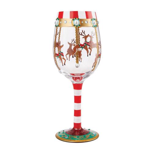 Lolita Wine Glass Reindeer Carousel by ENESCO