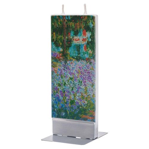Claude Monet Irises in Monets Garden Decorative Flat Candle by Flatyz Candles