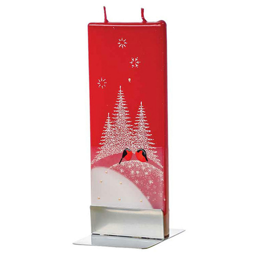 Two red birds Decorative Flat Candle by Flatyz Candles