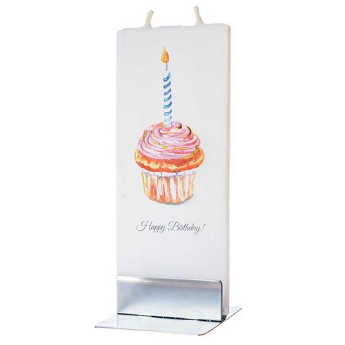 Happy Birthday Cupcake Decorative Flat Candle by Flatyz Candles