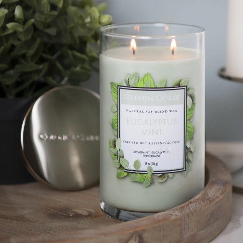 Eucalyptus Mint 18 oz. Classic Cylinder Jar Colonial Candle