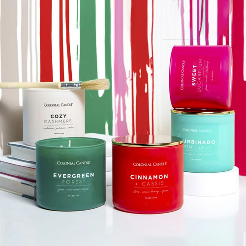Evergreen Forest 14.5 oz. Pop of Color Trend Collection Colonial Candle
