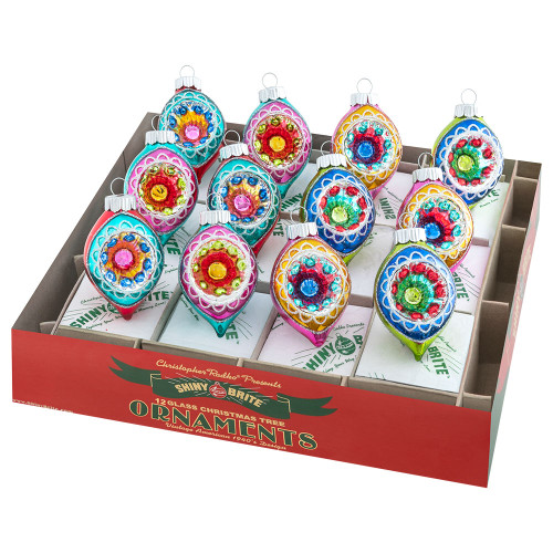"""Christmas Confetti 12 Count 1.75"""" Decorated Reflector Tulips by Christopher Radko"""