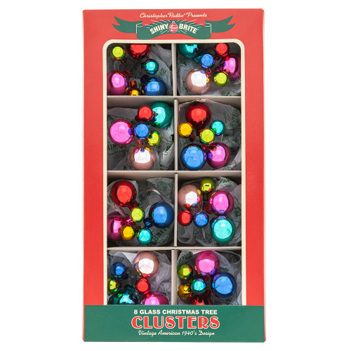 """Christmas Confetti 8 Count 1"""" & .5"""" Clusters by Christopher Radko"""