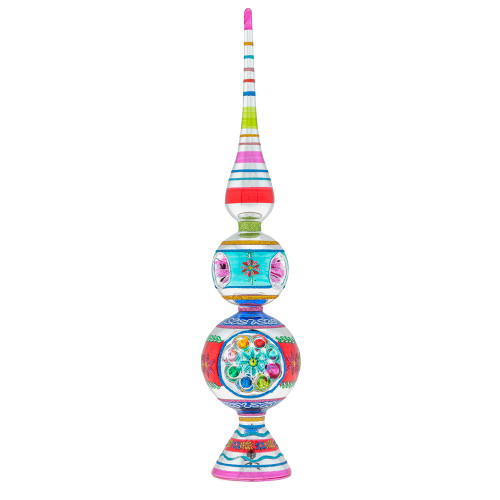 """Christmas Confetti 13"""" Finial Stand With Reflectors by Christopher Radko"""
