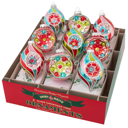 """Festive Fete 9 Count 2.5"""" Decorated Rounds & Reflector Tulips by Christopher Radko"""