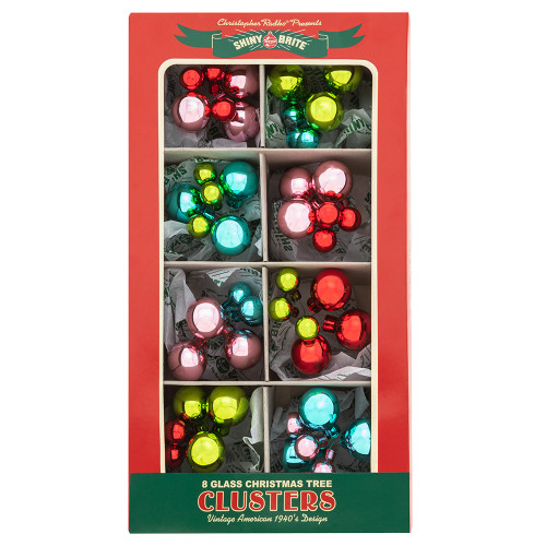 """Festive Fete 8 Count 1"""" & .5"""" Clusters by Christopher Radko"""