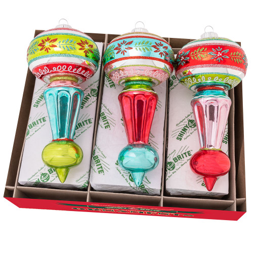 """Festive Fete 3 Count 7"""" Decorated Shapes by Christopher Radko"""