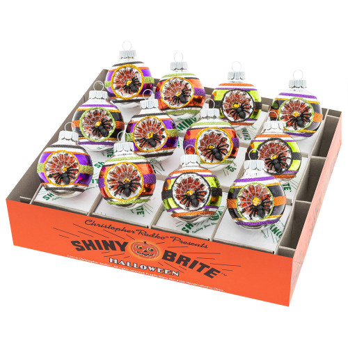 """Halloween Count 1.75"""" Decorated Rounds With Reflectors by Christopher Radko"""
