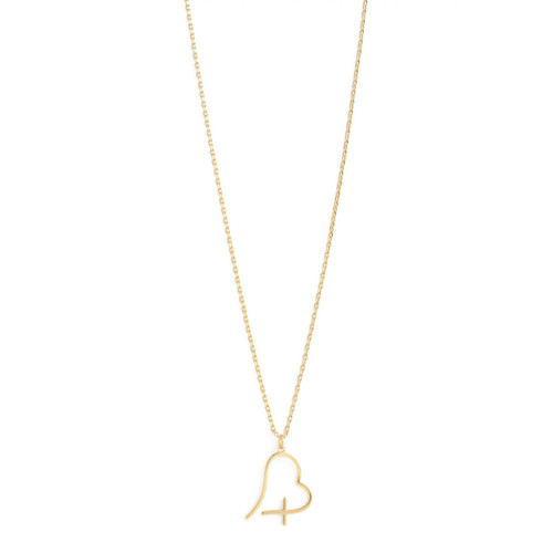 Necklace - Free form heart with cross (Gold) by Splendid Iris