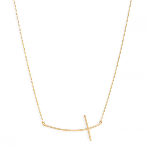 Necklace - Large brushed side cross (Gold) by Splendid Iris