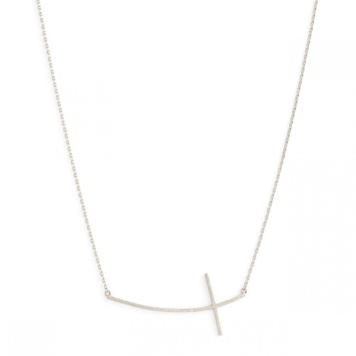 Necklace - Large brushed side cross (Silver) by Splendid Iris