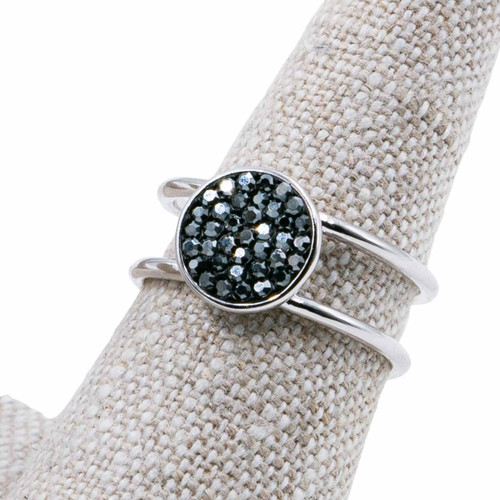 Studio Collection Ring - Petite shimmer circle on double row adjustable ring (Silver) by Splendid Iris