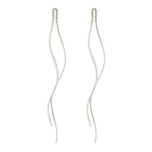 Earrings - Textured threader with swirl back (Silver) by Splendid Iris