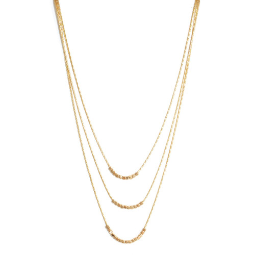 Necklace - Triple layer delicate beads (Gold) 14 in. by Splendid Iris
