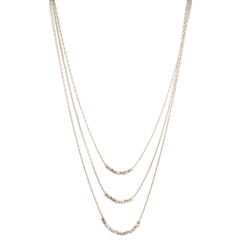 Necklace - Triple layer delicate beads (Silver) 14 in. by Splendid Iris
