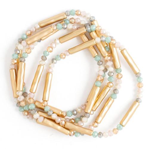 Bracelet - S/5 Stretch bracelets Ð light multi color crystals and textured gold bars (Gold) by Splendid Iris