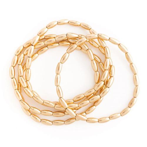 Bracelet - Set/5 oblong bead stretch bracelets (Gold) by Splendid Iris