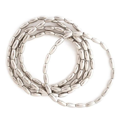 Bracelet - Set/5 oblong bead stretch bracelets (Silver) by Splendid Iris