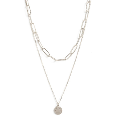 Necklace - 2 layer chain Ð textured link chain and simple pendant (Silver) by Splendid Iris