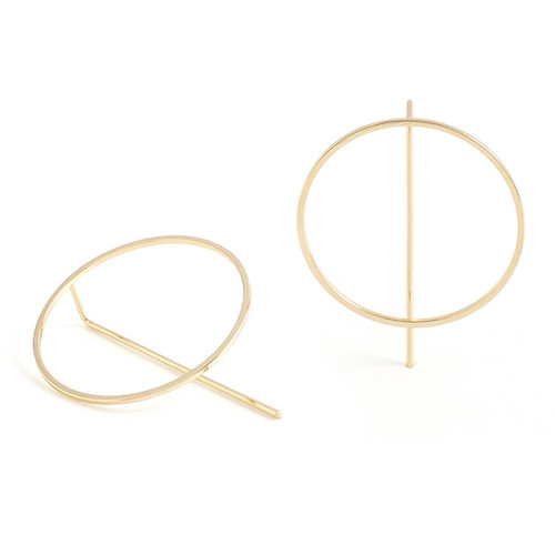 Earrings - Contemporary open circle with angle pull through (Gold) by Splendid Iris