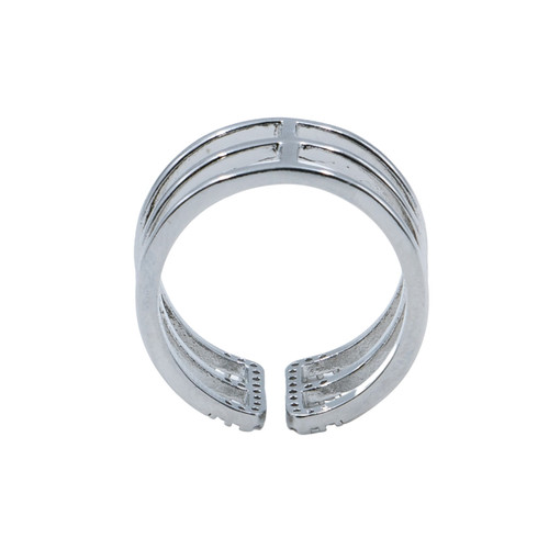 Ring - 3 adjustable rows with pave edging (Silver) by Splendid Iris