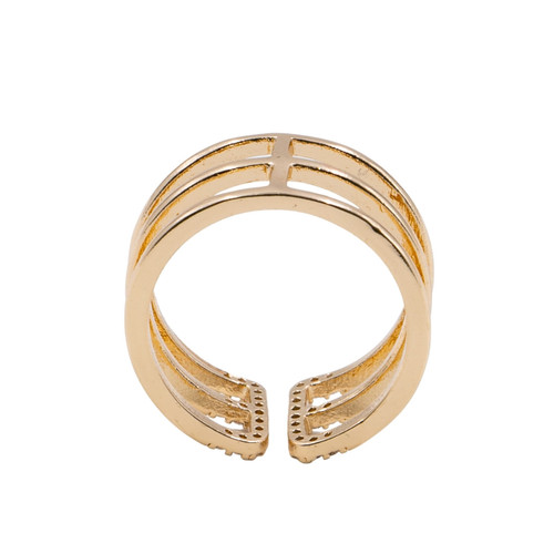 Ring - 3 adjustable rows with pave edging (Gold) by Splendid Iris