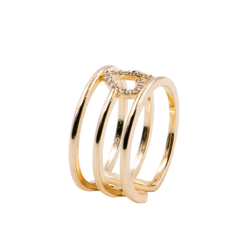 Ring - Pave heart with 3 rows adjustable (Gold) by Splendid Iris