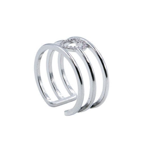 Ring - Pave heart with 3 rows adjustable (Silver) by Splendid Iris