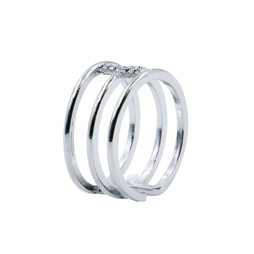 Ring - Pave cross with 3 rows adjustable (Silver) by Splendid Iris