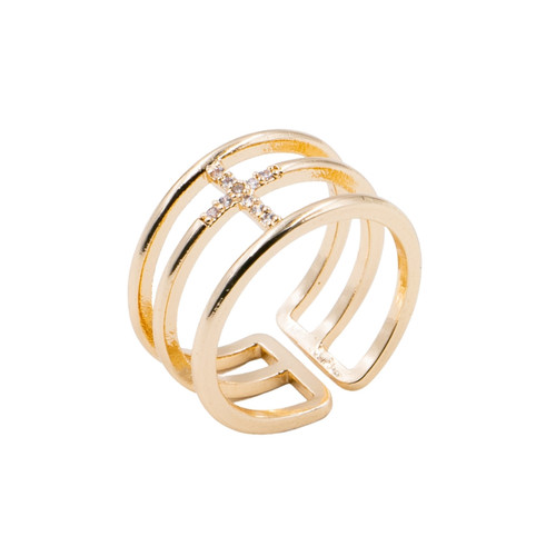 Ring - Pave cross with 3 rows adjustable (Gold) by Splendid Iris