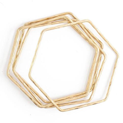 Bracelet - Set/5 hexagon hammered bangles (Gold) by Splendid Iris