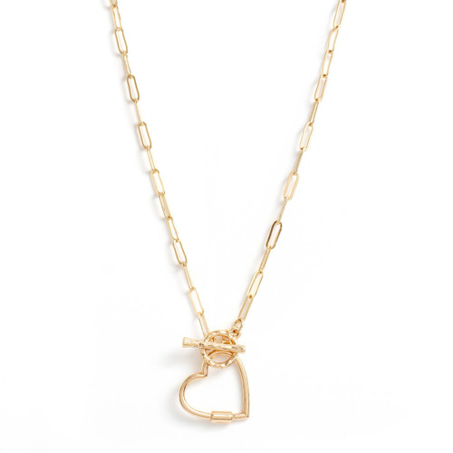 Necklace - Delicate link chain with toggle in front and open heart (Gold) by Splendid Iris