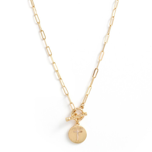 Necklace - Delicate link chain with toggle in front and cross cut out (Gold) by Splendid Iris