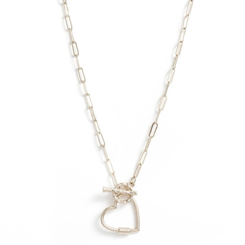 Necklace - Delicate link chain with toggle in front and open heart (Silver) by Splendid Iris