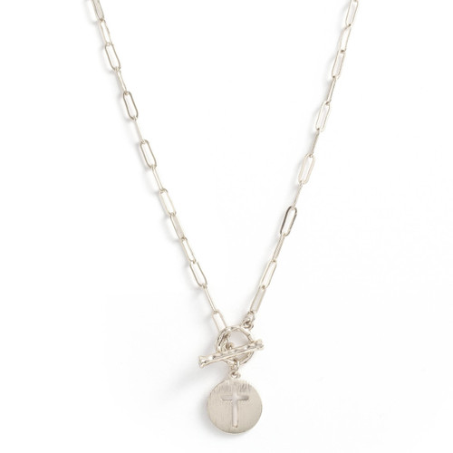 Necklace - Delicate link chain with toggle in front and cross cut out (Silver) by Splendid Iris