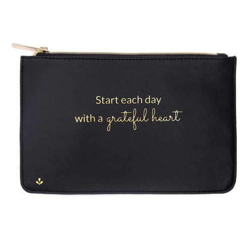 Zipper Pouch - Start each day with a grateful heart (Black) by Splendid Iris