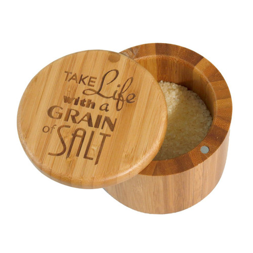 Salt Box with Magnetic Swivel Lid - Take Life with a Grain of Salt - Engraving on Lid by Totally Bamboo