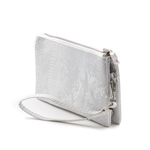 Riley Crossbody in Mnsk White and Silver by Jen & Co.