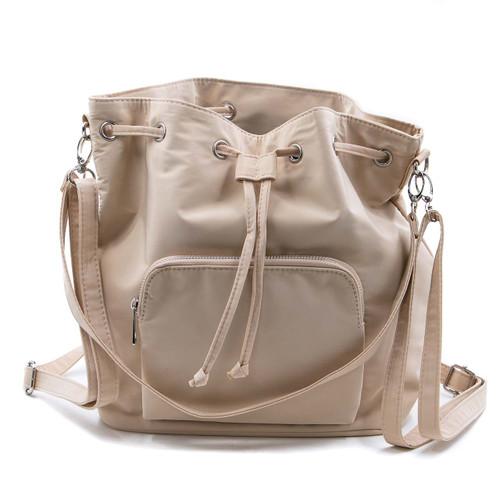 Sac Bag Beige 3in1 Nylon Bag Backpack/Shoulder Bag/Crossbody by Caracol