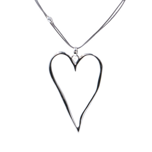 Collier Necklace Silver Long Adjustable Necklace On Cord With Big Metallic Heart Pendant by Caracol