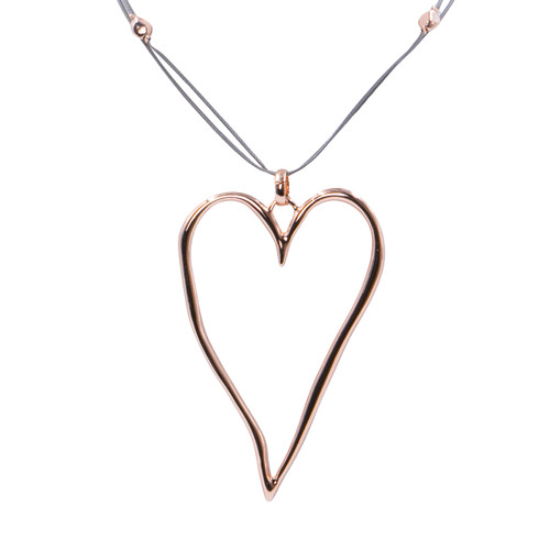 Collier Necklace Rose Gold Long Adjustable Necklace On Cord With Big Metallic Heart Pendant by Caracol