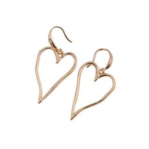 Boucles D'Orielles Earrings Gold Large Wavy Metallic Heart Drop Earrings by Caracol