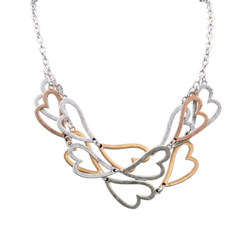 Collier Necklace Rose Gold, Silver & Hematite Short Necklace With Worn Metal Layered Heart Shape Pieces by Caracol