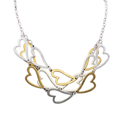 Collier Necklace Gold, Silver & Hem Short Necklace With Worn Metal Layered Heart Shape Pieces by Caracol
