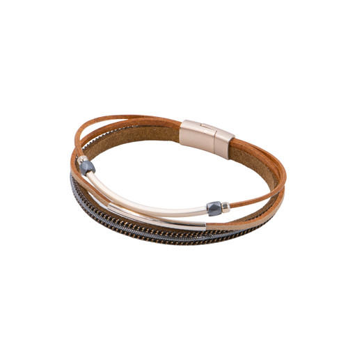 Bracelet Taupe & Bronze Delicate Single Multi Strand Bracelet With Metal Pieces by Caracol
