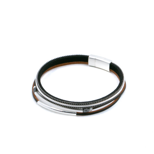 Bracelet Black Delicate Single Multi Strand Bracelet With Metal Pieces by Caracol