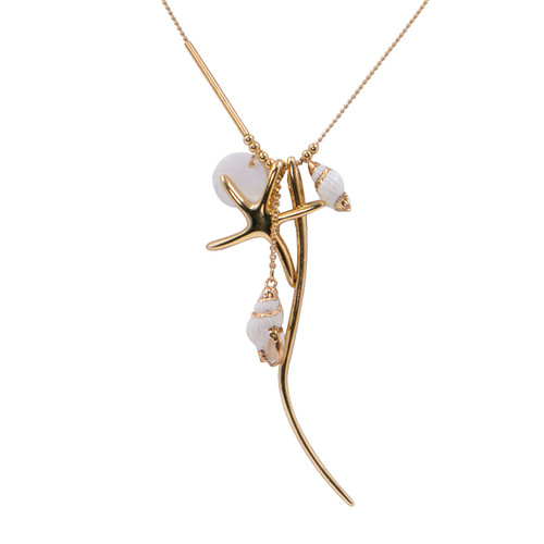 Collier Necklace Gold Long Necklace With Assorted Charms And Naturel Shells by Caracol