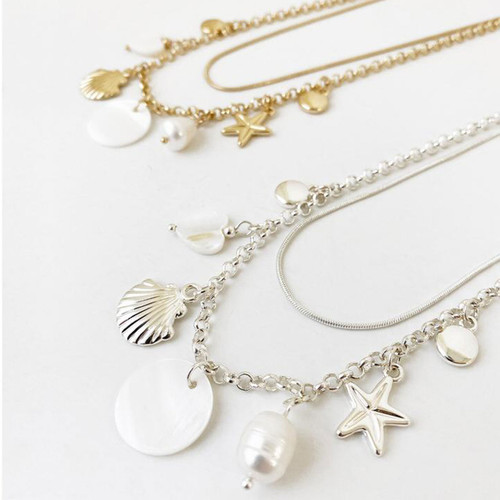 Collier Necklace Silver 2 Row Chain With Natural Shell And Assorted Charms by Caracol